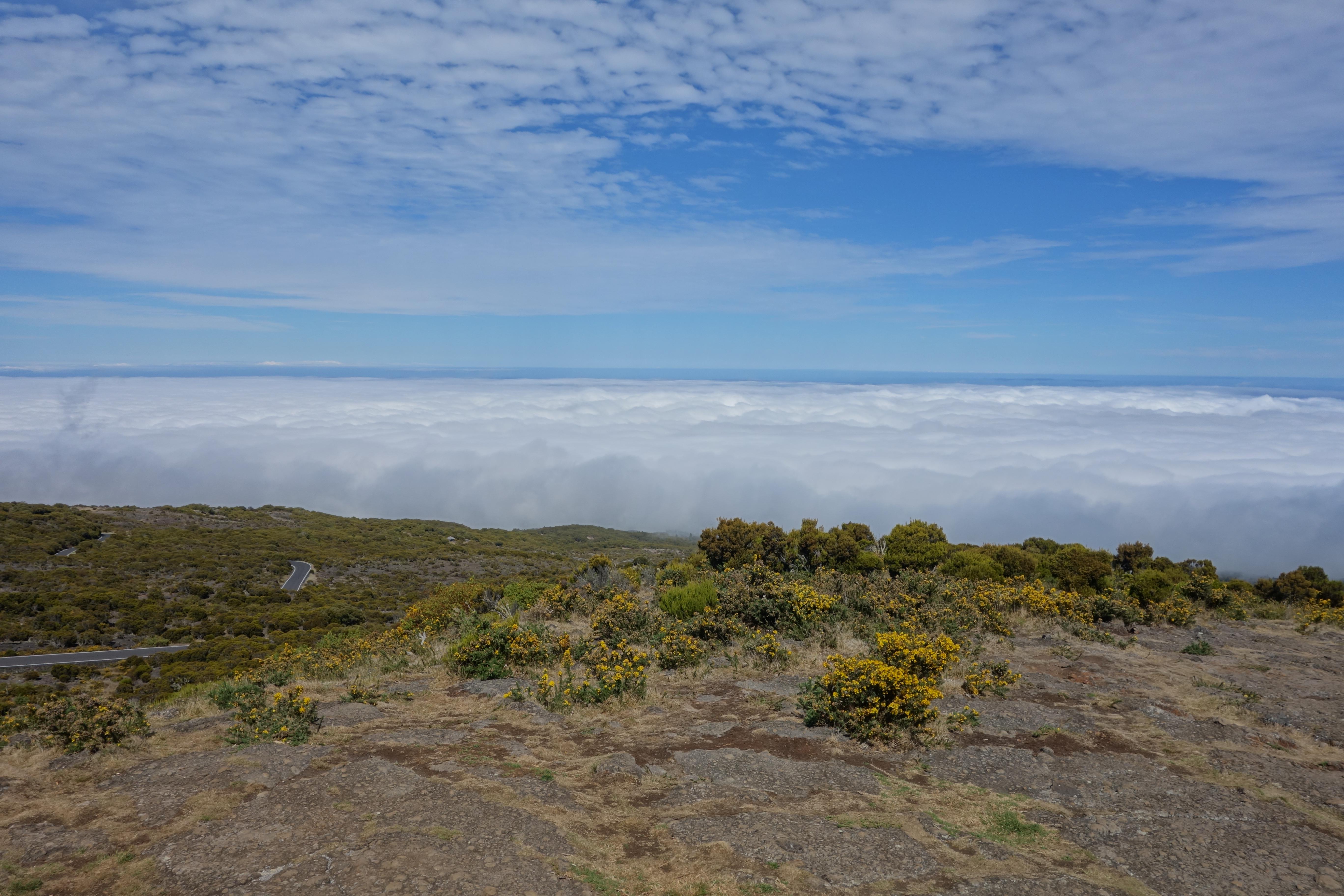 Blick vom Piton Maido über die Wolkendecke Richtung indischer Ozean